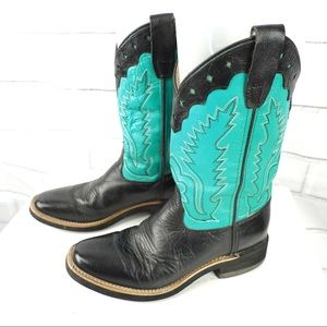 Old West 4D wide scalloped leather cowgirl boots